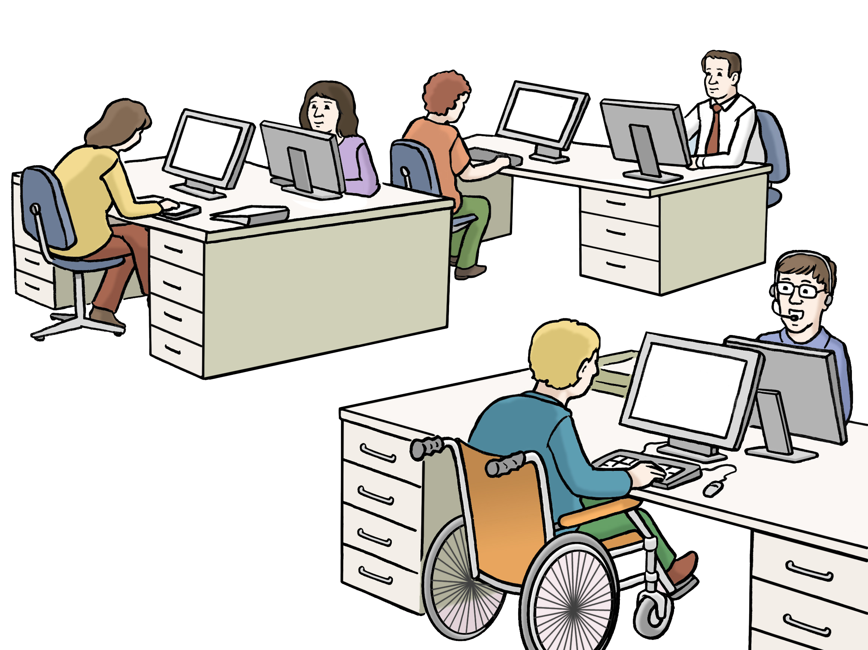 Büro - Großraumbüro - Office - Leichte Sprache