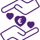 two hands englobing hearts with a euro symbol