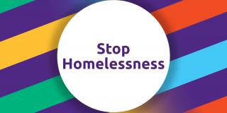 """Schriftzug """"Stop Homelessness"""""""