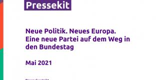 Titelblatt  des Pressekits von Volt Deutschland - Mai 2021