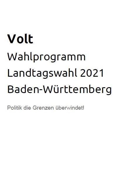 Programm Landtagswahl Baden-Württemberg 2021 barrierefrei