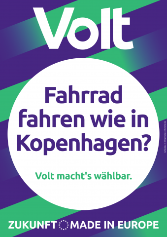 """Wahlplakat mit der Aufschrift """"Fahrrad fahren wie in Kopenhagen?"""""""