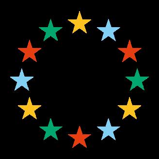 Multicoloured EU stars icon