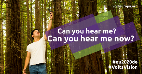 Image of a person standing in a forest. Text: Can you hear me?, Can you hear me now?