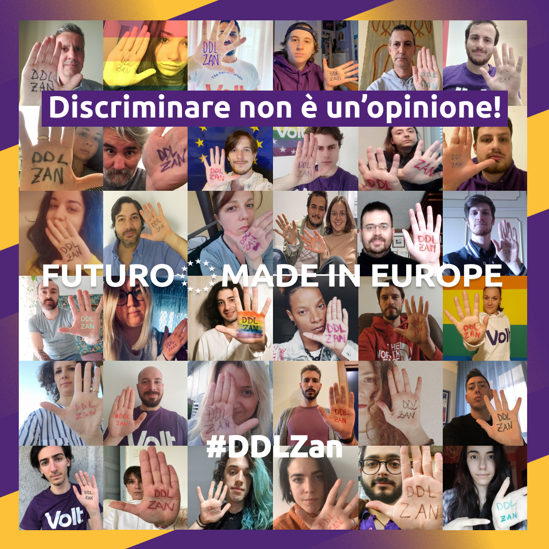 Volt Italia sostiene il DDL Zan