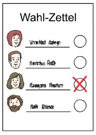 Leichte Sprache - Wahl-Zettel