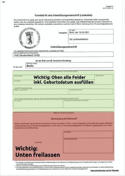 Ausfüllhilfe Unterschriftenformular BTW 2021
