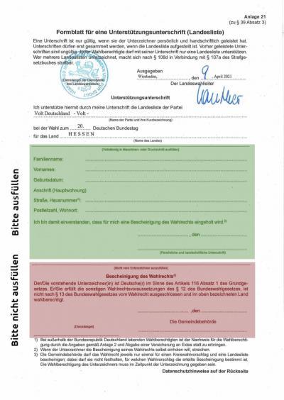 Ausfüllhilfe für Bundestagswahl-Unterschriftenformular für Hessen