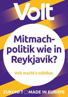 """Wahlplakat mit der Aufschrift """"Mitmachpolitik wie in Reykjavik?"""""""