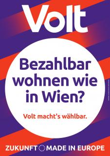 """Wahlplakat mit der Aufschrift """"Bezahlbar wohnen wie in Wien?"""""""